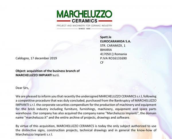 Acquisition of the Marcheluzzo Impianti company